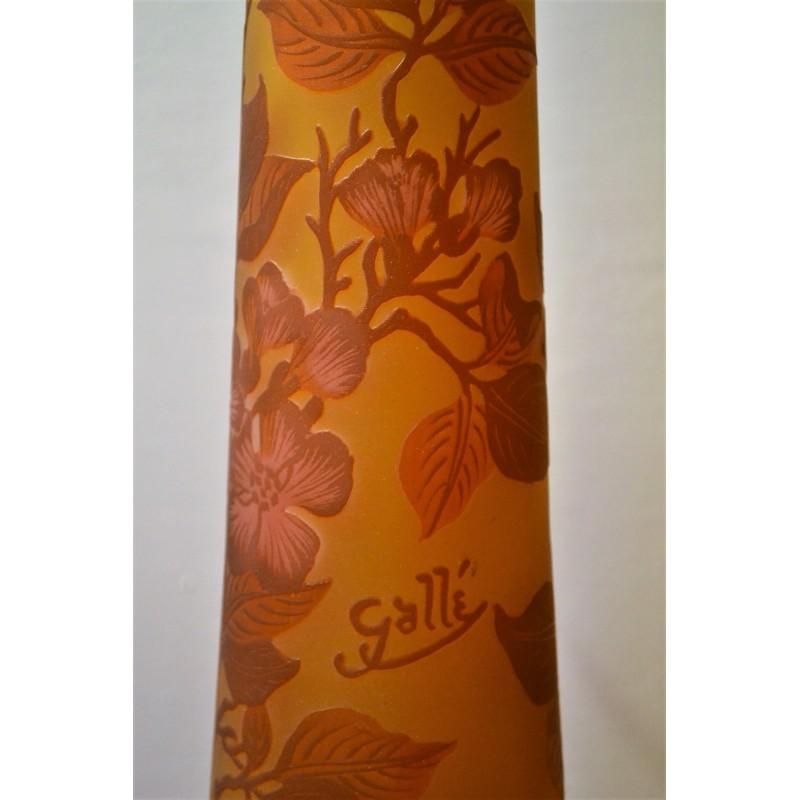 Pied de lampe Gallé Tip en pâte de verre décor floral