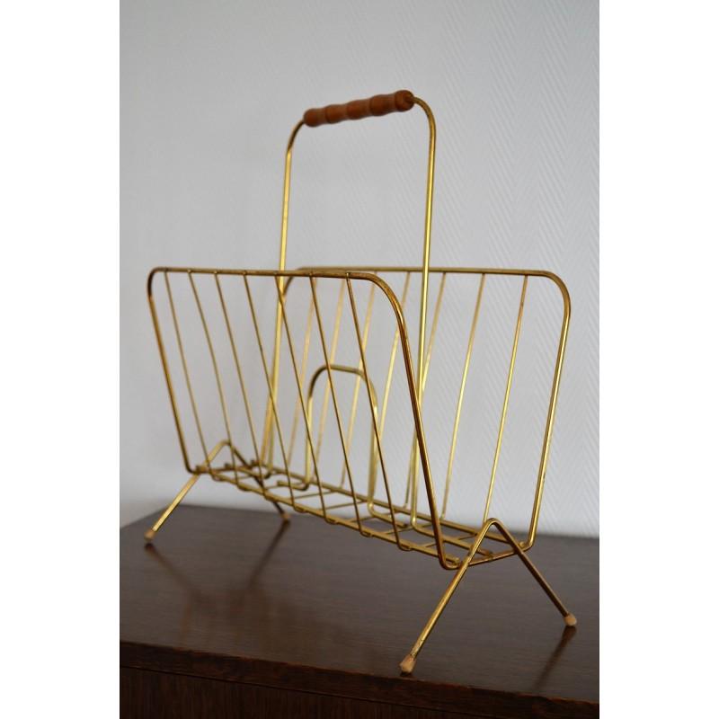 Porte revues vintage en métal doré années 50