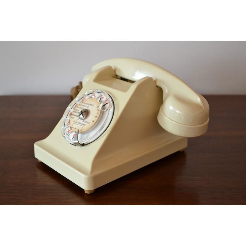 Téléphone PTT à cadran en bakélite avec écouteur vintage 1960s