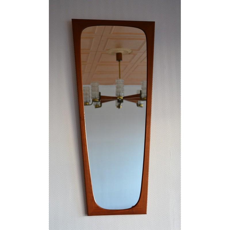 Miroir design scandinave en teck 1960s