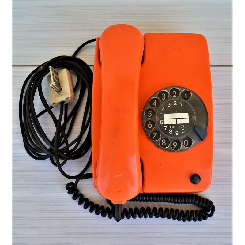 Téléphone à cadran SIEMENS orange vintage 70s
