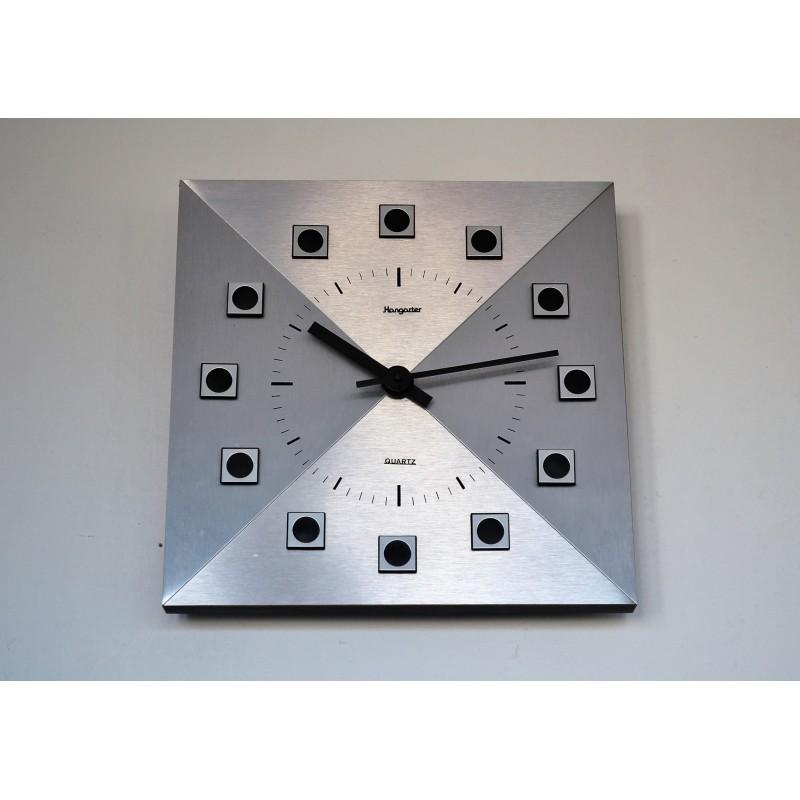 Horloge murale HANGARTER aluminium brossé 1970's