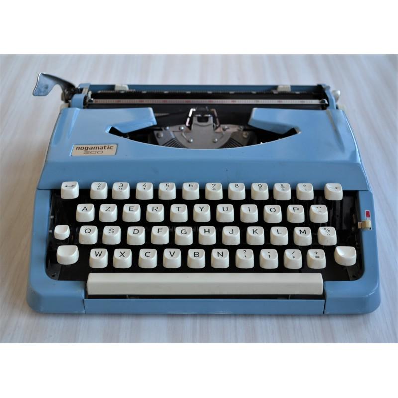 Machine à écrire bleue Brother Nogamatic 200 - vintage 70s + Ruban NEUF fourni