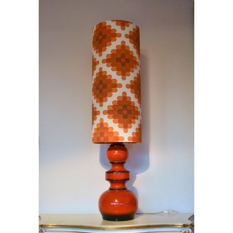 Lampe de sol Camaïeu en céramique orange - vintage 1970's