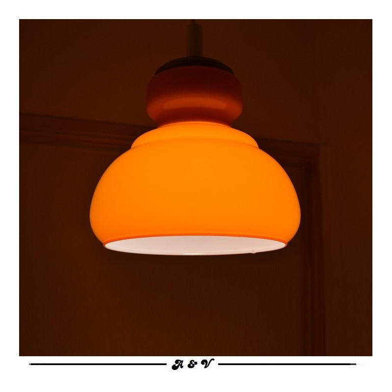 Suspension en opaline orange vintage 1970s