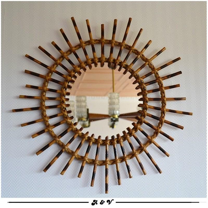 Miroir soleil en rotin vintage 60 70