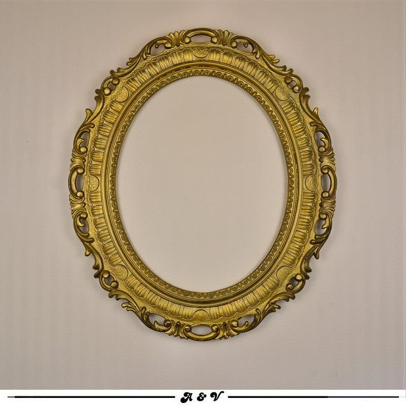 Cadre ovale en résine dorée