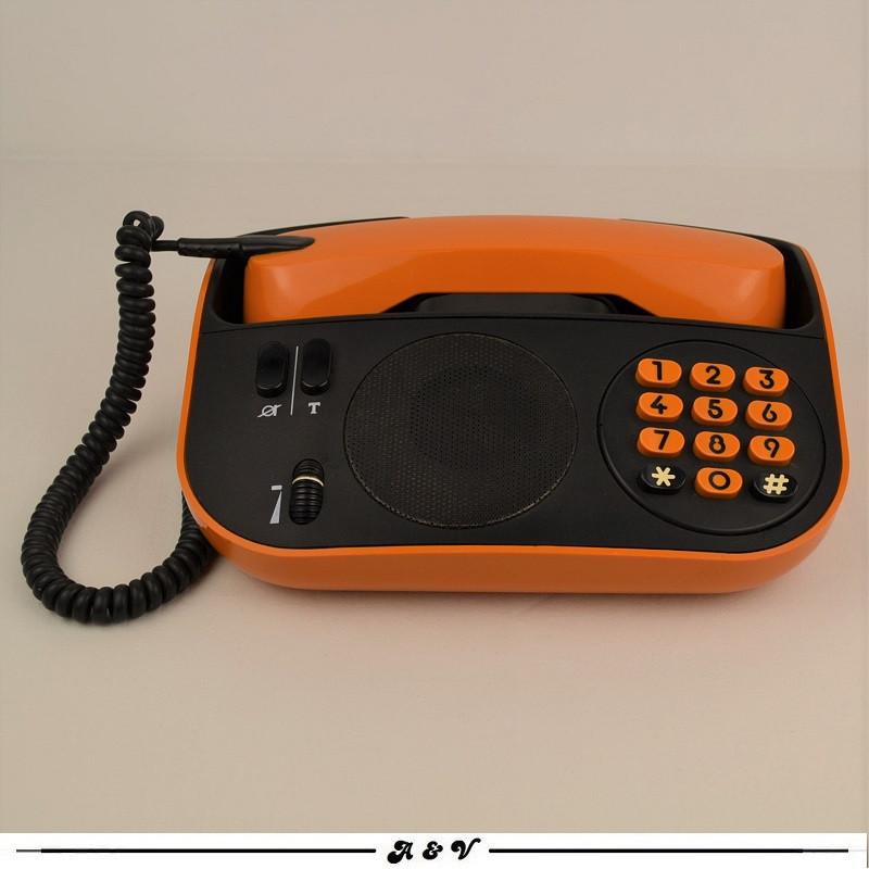 Téléphone PTT vintage Télic T75 orange de 1975