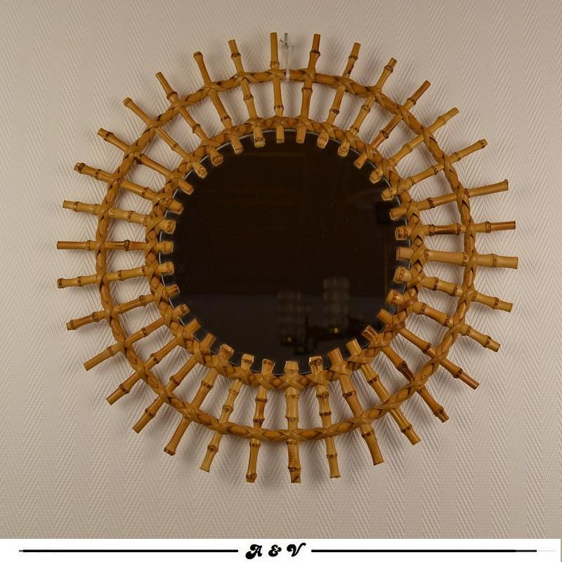 Miroir soleil en rotin et bambou - vintage 70