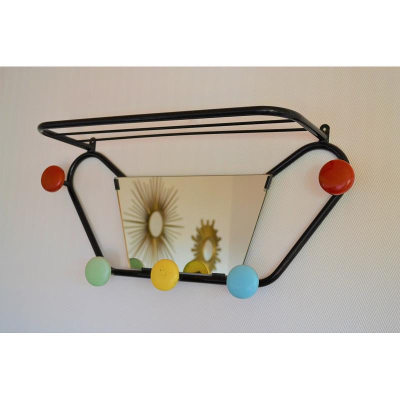 Porte manteaux miroir patères colorées - vintage 60 70