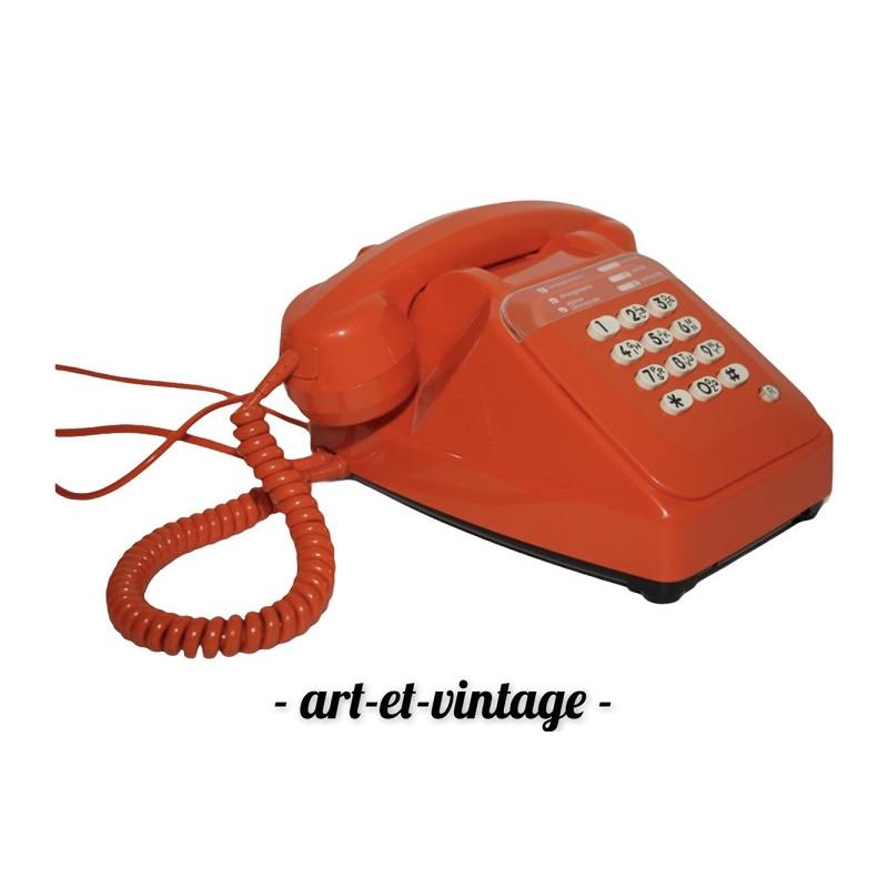 Téléphone Socotel orange à touches - vintage 1980's