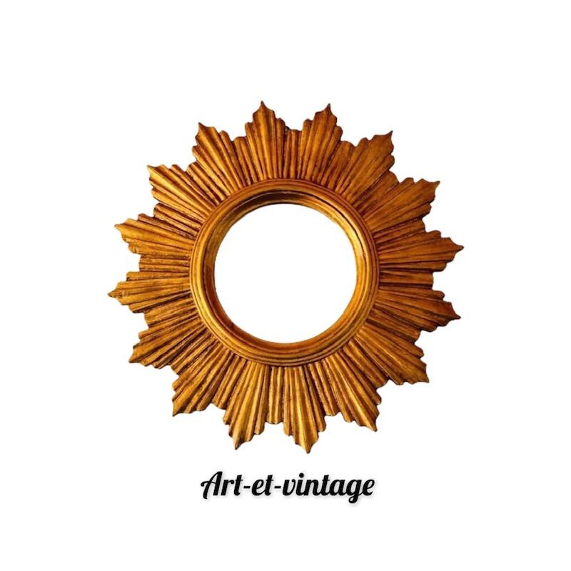 Miroir soleil bois doré vintage 60 70