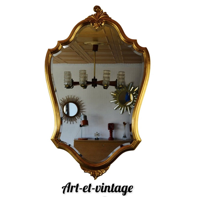 Grand miroir cadre doré style baroque vintage 105 x 65 cm