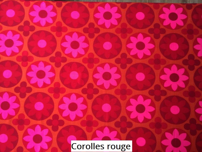 tissu vintage Corolles rouge