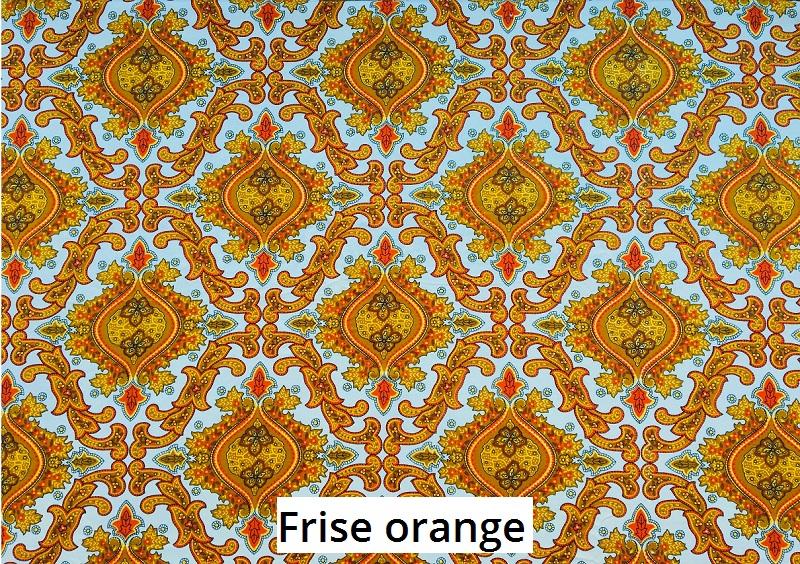 tissu vintage frise-orange