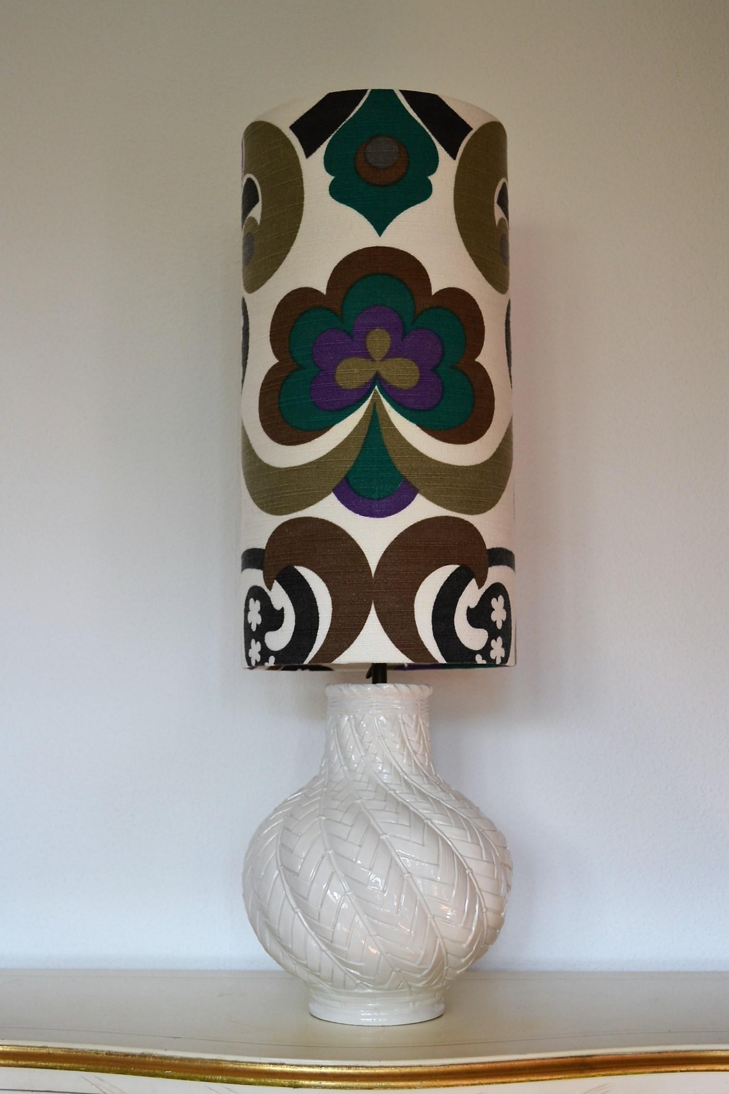 Lampe de sol Arabesc Mint - abat-jour vintage 1970