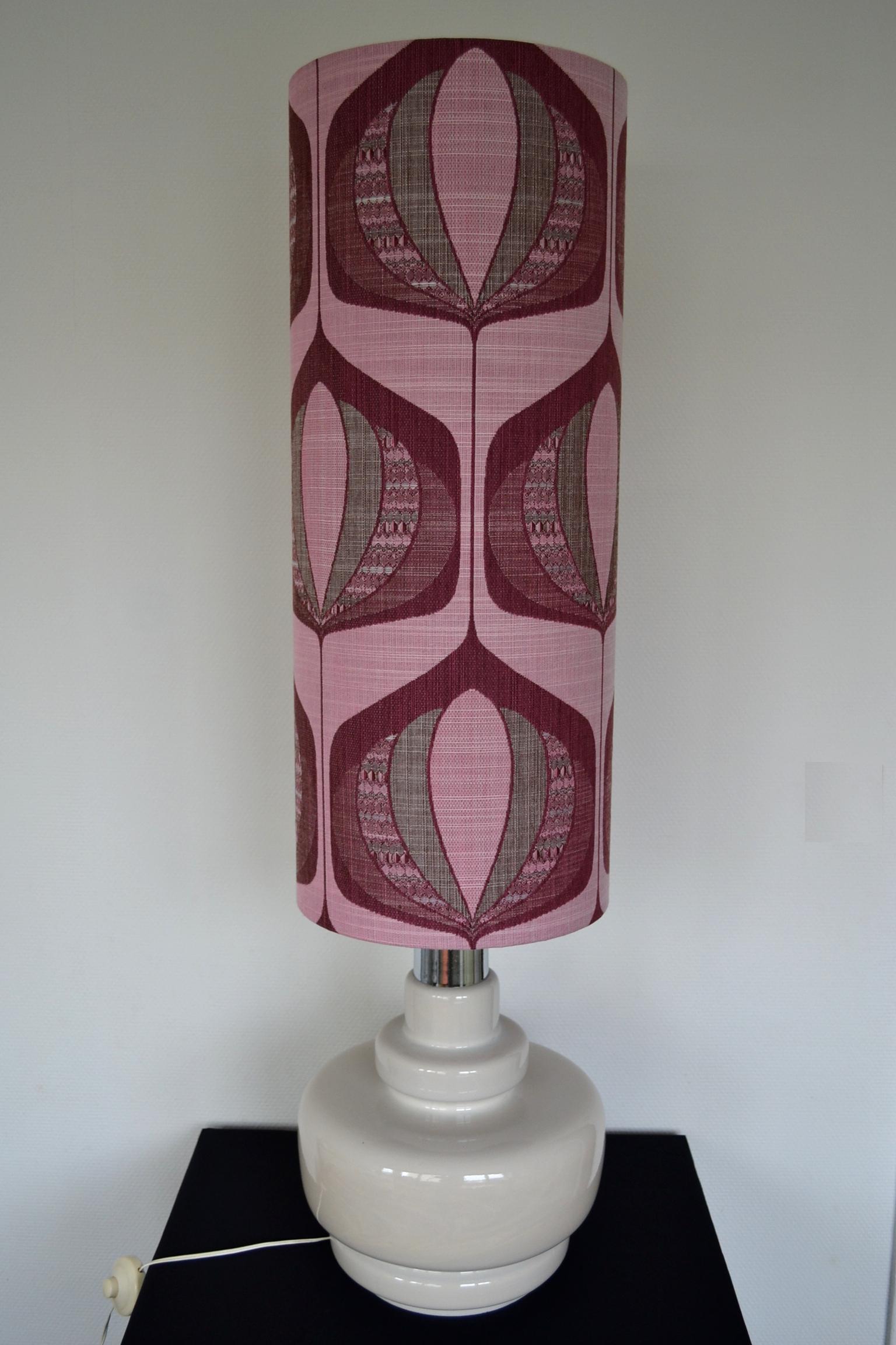 Lampe de sol Lotus - abat-jour vintage 1970