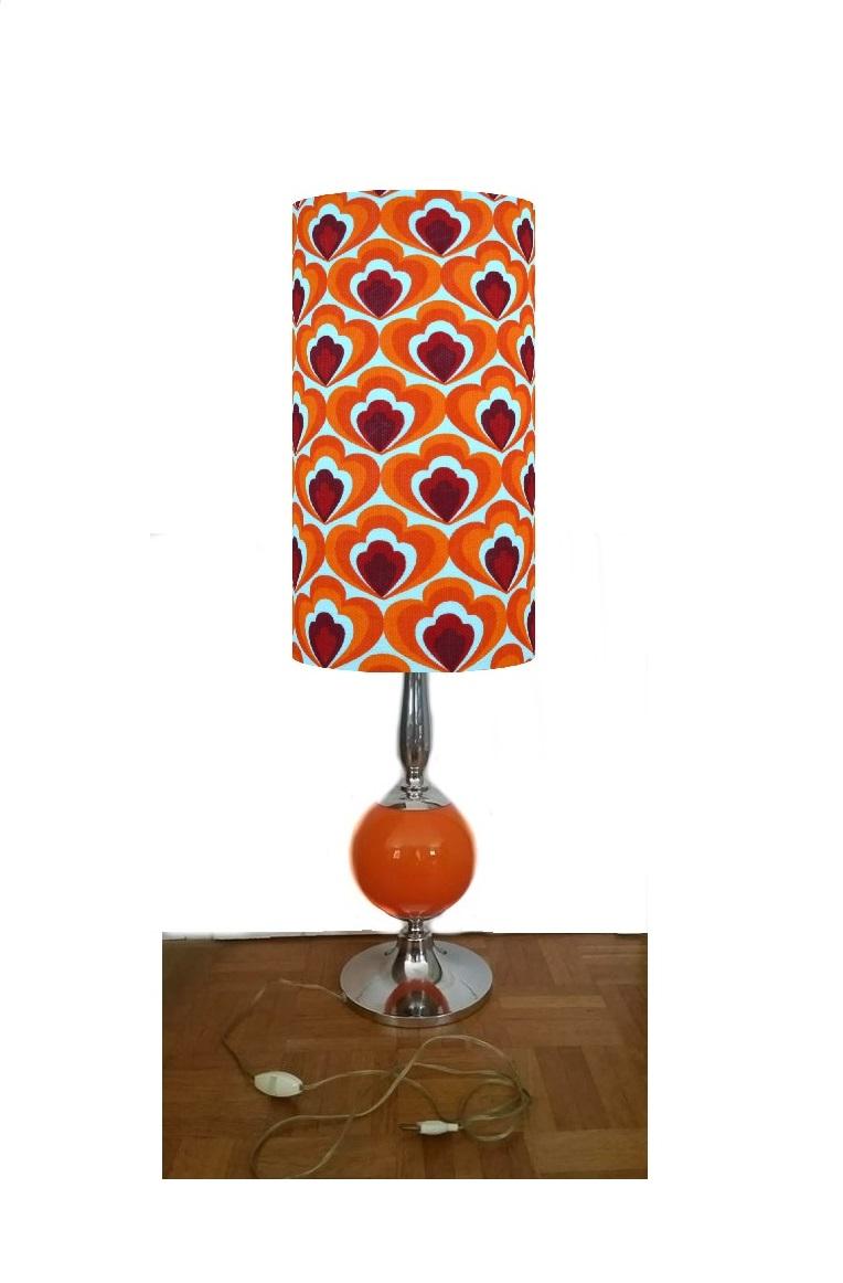 Lampe de sol Camélia- abat-jour vintage 1970